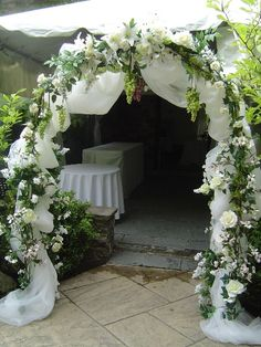 Wedding arch by front door for shower