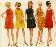 scalloped edged hem dress pattern | Vintage 60s Butterick 4712 Misses Mod A Line Summer Mini Dress with ...