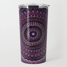 Mandala peace blue pink Travel Mug by laurafrere Love Blue, Travel Mug, Peace, Mugs, Pink, Stuff To Buy, Products, Mandalas, Tumblers