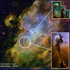 """Zooming in on the Eagle Nebula  """"Pillars of Creation"""" (top image) Stellar Spire (bottom image)  I Love Space"""