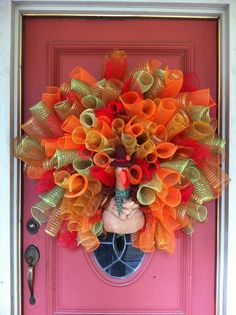 Rainbow Mesh Turkey Ornament 2014 Thanksgiving Wreath - Handmade Holiday Decor