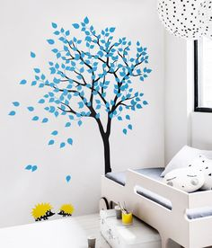 Beautiful Tree Wall Decals and Other Nursery Wall Decor by WallConsilia Simple Wall Paintings, Creative Wall Painting, Wall Painting Decor, Nursery Wall Decor, Tree Wall Murals, Tree Wall Art, Diy Wall Art, Wall Painting Living Room, Bedroom Wall Designs