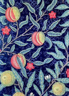 POMEGRANATES! Vintage ART NOUVEAU William Morris Illustration. Digital Art Nouveau Vintage Illustration. Digital Art Nouveau Download.
