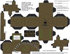 Chewbacca Cubee by TheFlyingDachshund - Star Wars Jewellery - Fashionable Star Wars Jewellery - - Star Wars Birthday, Star Wars Party, Paper Folding Crafts, Paper Crafts, Aniversario Star Wars, Star Wars Classroom, Paper Cube, Origami, Star Trek