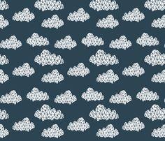 Geometric Cloud - Parisian Blue fabric by andrea_lauren on Spoonflower - custom fabric
