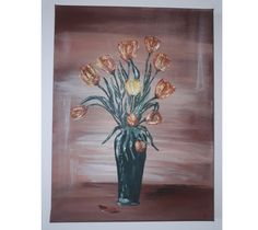 Acrylic on canvas painting - 30 cm x 40 cm Tulips, Paintings, Canvas, Instagram, Art, Tela, Art Background, Paint, Painting Art
