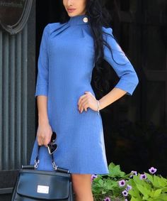 25bc6667c76 Laura Bettini Blue Turtle Neck Linen-Blend Shift Dress - Plus Too. Karyl  Rechier · Clothes for work