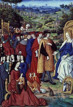 Louis XII et sa cour s'adressant à la raison. Miniature Extraite de Remèdes de l'une et l'Autre Fortune de Pétrarque