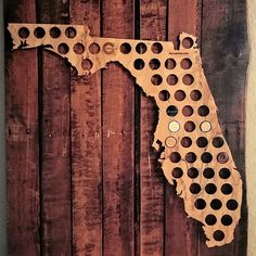 Take the Beer Cap Map Challenge with our Florida wall decor. How long will it take you to cover your state with your favorite beer caps? It may take a couple months for some or a few days for others. Each map is cut from 5mm thick plywood with a unique grain pattern that makes every map one of a kind.