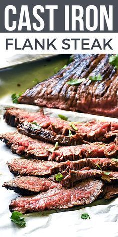 Cast Iron Flank Steak The BEST flank steak ever is ready in just 20 minutes! My recipe for Cast Iron Flank Steak, is delicious, LOW CARB, quick & easy to make. This steak dinner is one of my FAVORITE go-to easy dinner ideas! Flank Steak Tacos, Steak Fajitas, Steak Braten, Marinated Flank Steak, Balsamic Flank Steak, Steak Marinades, Chicken Fajitas, Steaks, Skirt Steak Recipes
