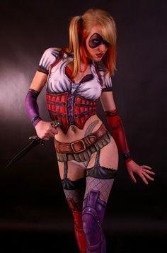 Sexy Harley Quinn Body Paint ✯ www.pinterest.com/WhoLoves/Body-Art ✯ #BodyArt