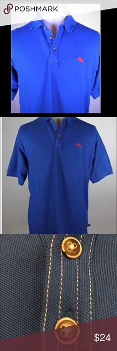 Men's The Emfielder Polo Shirt Royal Blue NWOT Our ever-popular polo symbolizes our approach to relaxed sophistication. Crafted from fine Supima® cotton and moisture-managing Leisure Tech™ fabric, the Emfielder Polo is perfect for any island pursuit, from golfing to sailing. Contrast stitching finishes the placket, cuffs and hem.   Features:  62% Supima® Cotton/38% Polyester Embroidered marlin on left chest Straight hem with side vents Tommy Bahama Shirts Polos