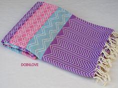 Multi colour striped jacquard super soft lightweight Turkish cotton bath towel, beach towel, pareo, lightweight travel towel.