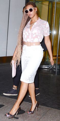Beyonce wears a Topshop Crinkle Flower Shirt (under $50!) with a Burberry Prosum Broderie Anglaise Pencil Skirt. #Beyonce
