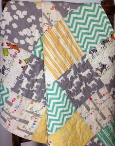 Baby Quilt, Gender Neutral, Modern, Organic, Woodland Animals, Mod Basics, Elk, Deer, Chevron,Yellow, Pool Blue-Green, Gray, Cream, Yay Day