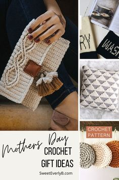 Handmade gifts are cherished by moms. Check out this list of crochet Mothers Day Gift Ideas to DIY the perfect something for your mom. Holiday Crochet, Crochet Gifts, Diy Crochet, Crochet Geek, Crochet Bags, Crochet Ideas, Modern Crochet, Crochet Round, Crochet For Kids