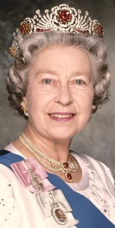 Queen Elizabeth had this stunning tiara designed in 1973. The design is in the form of a wreath of roses, with clusters of rubies in the center of each flower, and petals made of brilliant diamonds. The 96 rubies set into the tiara were a present from the Burmese people, and represent the number of diseases that they believe can afflict the human body.