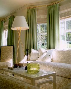 window treatment idea for bay windows or wall of windows with odd corners
