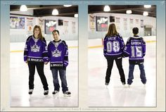 Save the Date picture with hockey jerseys.
