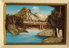 Japanese Folk Art,  Vintage Mixed Media Art, Zen Collage Art, 3-D Collage, Landscape of Mt. Fuji, Serene Place, Asian Collection Decor by FunkAndMoreVintage on Etsy https://www.etsy.com/listing/167876129/japanese-folk-art-vintage-mixed-media