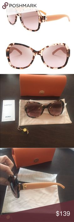 ✨NWT✨ Tory Burch Butterfly Serif T Sunglasses NWT. Authentic Tory Burch butterfly Serif T tortoise sunglasses. Brown and pink. 58mm. Brown gradient lenses. 100% UV protection. Includes hard case, soft case, and care booklet. ***No Trades*** Tory Burch Accessories Sunglasses