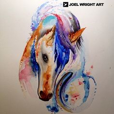 Horse and horseshoe watercolor painting for tattoo.