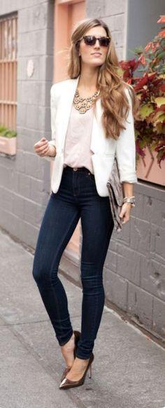 White blazer and dark blue jeans. white blazer and dark blue jeans summer business outfits, summer outfits women, business casual Summer Business Outfits, Summer Outfits Women, Business Casual, Trendy Dresses, Casual Dresses, Casual Outfits, Fashion Mode, Work Fashion, Womens Fashion