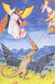 San Miguel y los ángeles en lucha contra el Guivre,  criatura mítica similar a un dragón. En las leyendas fueron presentados como criaturas serpentinas que poseían aliento venenoso y merodeaban la zona rural de la Francia medieval.