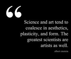 Science and art tend to coalesce in aethetics, plasticity, and form. The greatest scientist are artists as well. - Albert Einstein