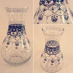 Hand painted, clear glass vase - henna inspired design in black and silver
