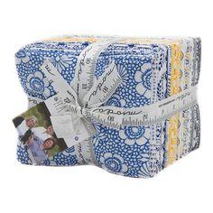 Harmony Fat Quarter Bundle 30pc - by Sweetwater for Moda #5690AB - Floral Fat Quarters, Blue Yellow Gray Fat Quarter Bundle