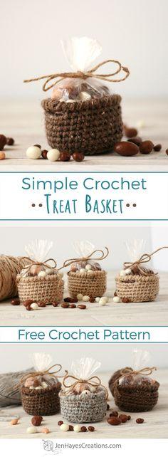 Simple Crochet Treat Basket | A Free Pattern by Jen Hayes Creations