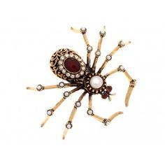 halloween spider alcozer & j alocozershop.com spilla granati perle
