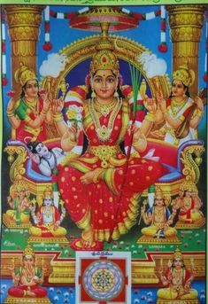 Hindu Goddess Tripura Sundari is represented as a 16 year girl and is the highest aspect of Goddess Parvati. Below are some beautiful images of Goddes. Indian Goddess, Goddess Lakshmi, Durga Images, Shiva Shakti, Durga Maa, Kali Hindu, Shiva Art, Tanjore Painting, Mysore Painting