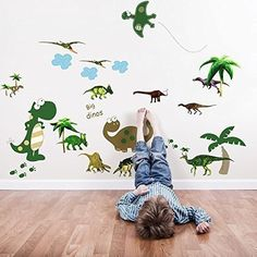 Walplus Wall Stickers Large Dinosaur Removable Self-Adhesive Mural Art Decals Vinyl Home Decoration DIY Living Bedroom Office Décor Wallpaper Kids Room Gift, Multi-colour