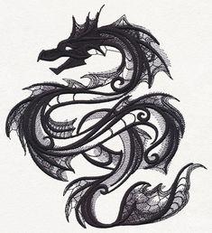 Dark Creatures - Sea Serpent design from Tattoo Design Drawings, 3d Drawings, Drawing Sketches, Tattoo Sketches, Dark Creatures, Mythical Creatures, Sea Dragon, Dragon Art, Tatoo Sakura