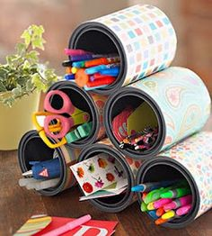 Cans+scrapbooking paper= organizers Get Crafty! Reuse What You Already Have