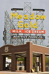 "Route 66, Tulsa, OK...This sign has been there at least since the early 60's. Meadow Gold used to make ""ice milk"" which tasted like homemade ice cream."