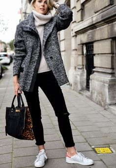 I'm wearing: Iro Paris Jacket Designers Remix sweater J Brand jeans Clio Goldbrenner bag ( all available at ENES) Adidas ' Stan Smith' shoes Les Interchangeables bracelets Nails: Cymbidium by Faby