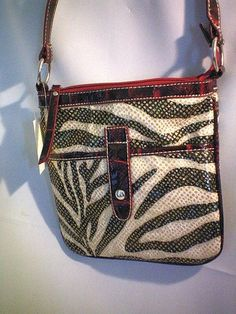ZEBRA Faux Leather Black White RED Trim Mail Bag Purse