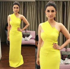 Parineeti chopra wearing yellow gown by Monisha Jaisingh for Stardust Awards 2015