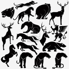 animal wild heraldic silhouette Stock Photo - 11865048 I like the seated bear in the center.
