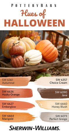 On the hunt for seasonally inspired paint colors that are all treats and no tricks? This palette was handpicked (pun-intended) to coordinate perfectly with @Pottery Barn's collection of decorative Faux Pumpkins. Give your Halloween display a backdrop of Autumnal SW 6361, Husky Orange SW 6636, Marigold SW 6664 or any of these eight festive hues even your little ghouls and goblins will love.