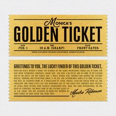 Printed on metallic gold shimmer paper, double-sided and die-cut for an authentic look, our personalized Golden Tickets are an ideal add-on to your personalized chocolate bar wrappers. Ticket Invitation, Invitations, Paper Toys, Paper Crafts, Gold Ticket, Charlie Chocolate Factory, Wonka Chocolate, Ticket Printing, Chocolate Bar Wrappers