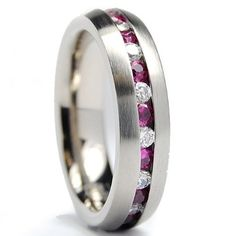 5.5MM Matte Finish Eternity Titanium Ring Wedding Band with Pink and White CZ Size 5 to 8 Metal Masters Co.. $24.99. Comes with a FREE Ring Box!!. Comfort Fit. Grade AAAAA Quality Cubic Zirconia. Genuine Titanium. 30-Day Money Back Guarantee