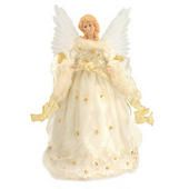 14 3/4-inch animated angel in ivory & gold fiber optic tree topper - Bronner's CHRISTmas Wonderland - $71.99