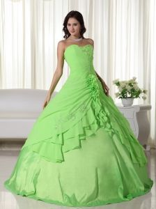 ce67415e390 Spring Green Ball Gown Sweetheart Floor-length Chiffon Beading Quinceanera  Dress Sweet 15 Dresses
