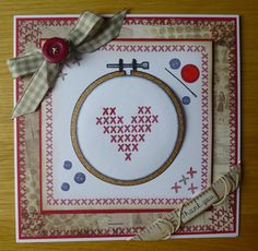 Cross Stitch card using Woodware stamps designed by Francoise Read I love the cross stitch collection, so many versatile uses for the same set of stamps, also using the vintage backgrounds from Craftwork Cards.