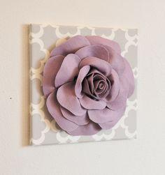 "TWO Wall Flowers -Lilac Rose on Gray and White Tarika Print 12 x12"" Canvas Wall Art- Baby Nursery Wall Decor-. $66.00, via Etsy."