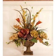 Fleur De Lis Living Silk Flower Floral Arrangement in Decorative Vase